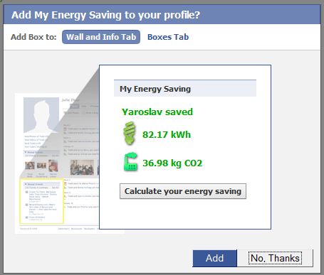 My Energy saving Facebook tab