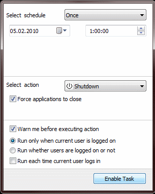 How to shutdown computer at specified time
